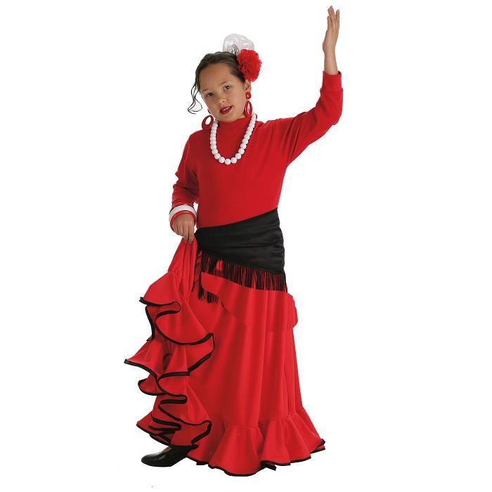 3dbe12175e Disfraz Rociera falda roja larga niña